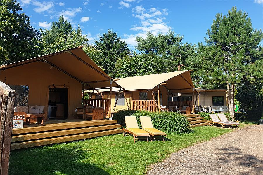 Holiday home Tents Sun loungers Trees Nature
