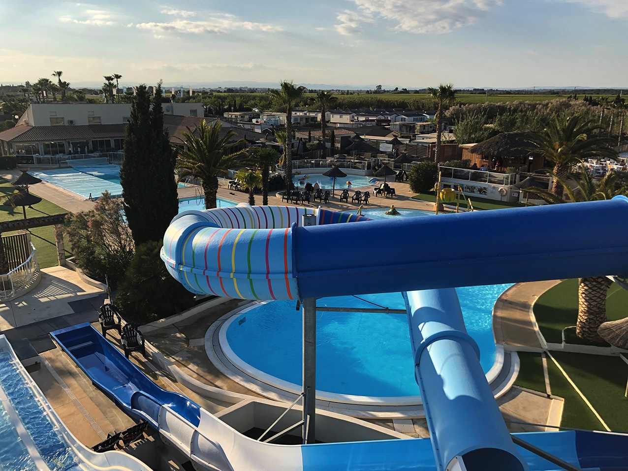 New water slide Multiple pools Palm swimming pool